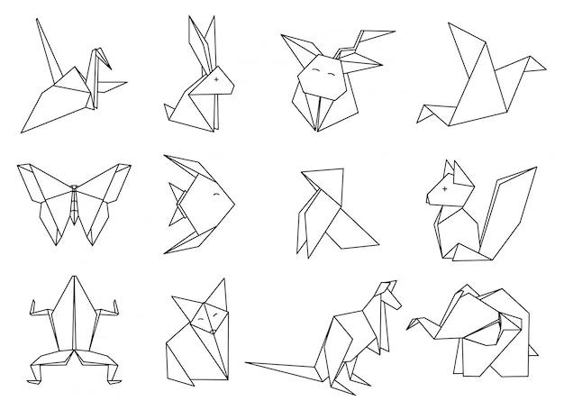 Conjunto de animais de origami.