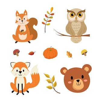 Conjunto de animais de outono