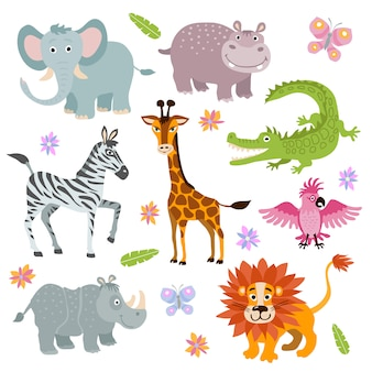 Conjunto de animais de savana africana bonito dos desenhos animados
