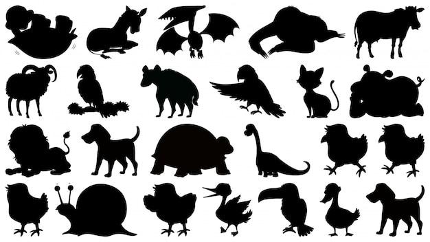 Conjunto de animais de silhueta