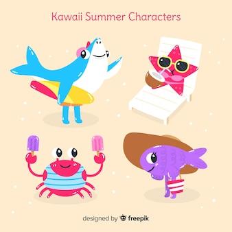 Conjunto de animais de verão kawaii