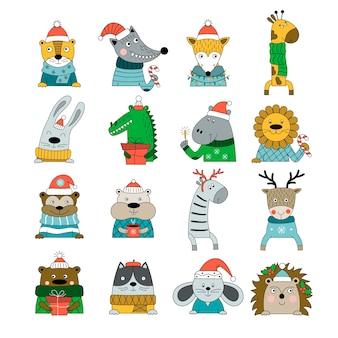Conjunto de animais desenhados à mão em trajes de inverno, isolados no fundo branco.