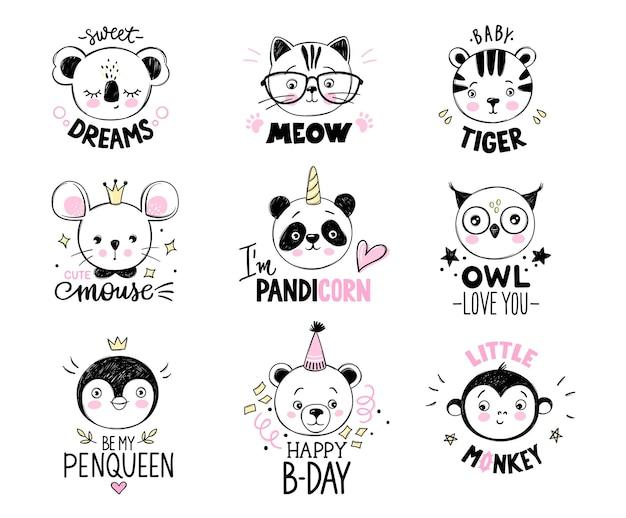 Conjunto de animais do doodle. citações engraçadas. ilustrações infantis fofas