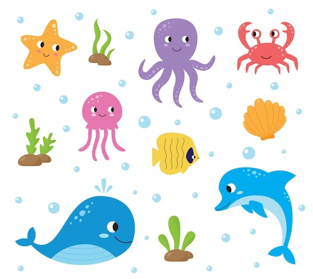 Conjunto de animais do mar bonito dos desenhos animados. vida subaquática.