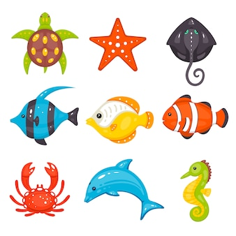 Conjunto de animais do mar em estilo cartoon mão desenhada. a vida marinha e as criaturas subaquáticas contêm tartaruga, estrela do mar, arraia, peixes, caranguejo, golfinho, cavalo marinho.