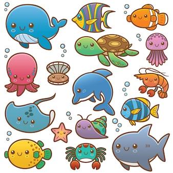 Conjunto de animais do mar