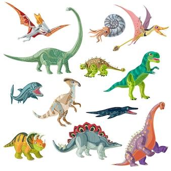 Conjunto de animais do período jurássico