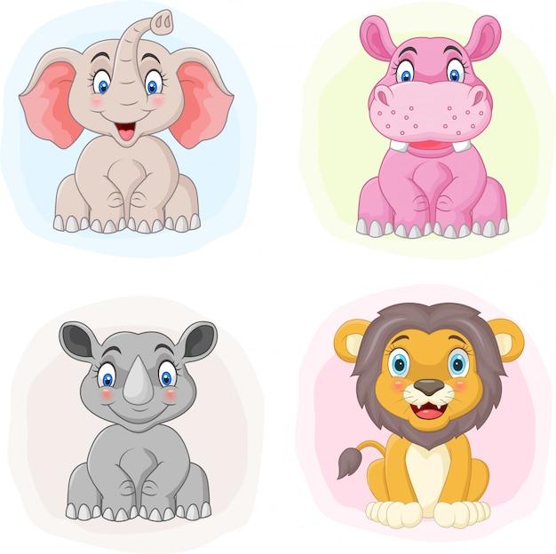 Conjunto de animais do zoológico dos desenhos animados