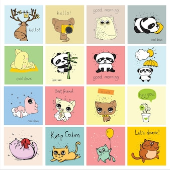 Conjunto de animais doodle hipster perfeitos para impressões de design de cartões e pôsteres infantis