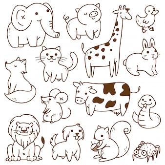 Conjunto de animais doodle isolado