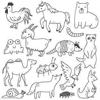 Conjunto de animais doodle