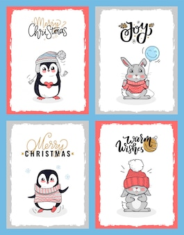 Conjunto de animais dos desenhos animados em roupas quentes