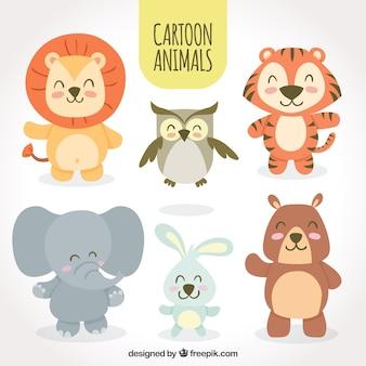 Conjunto de animais dos desenhos animados sorrisos