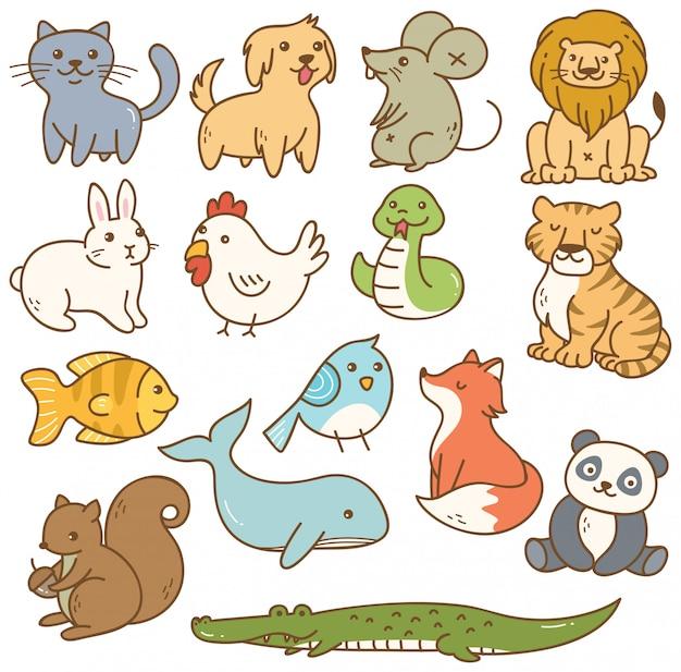 Conjunto de animais dos desenhos animados