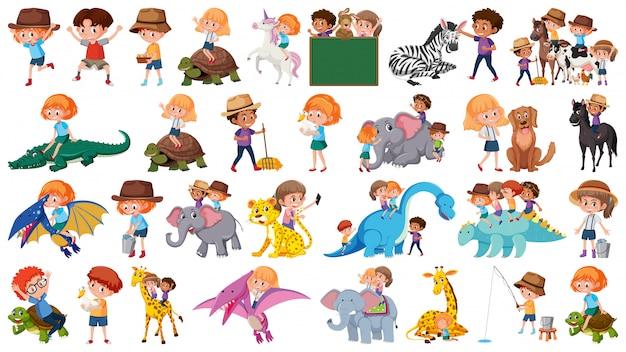 Conjunto de animais e crianças