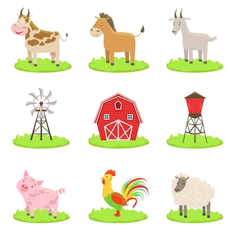 Conjunto de animais e objetos associados à fazenda