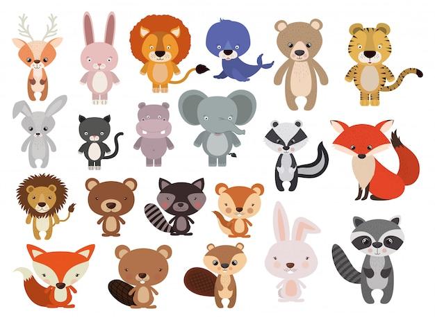 Conjunto de animais em estilo simples