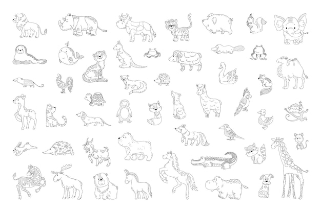 Conjunto de animais em um estilo linear