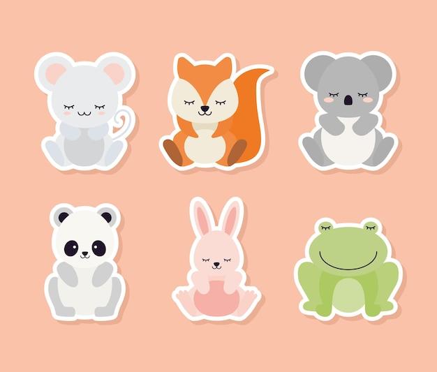 Conjunto de animais em um projeto de ilustração de fundo de cor salmão