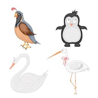 Conjunto de animais em vetor isolado no fundo branco