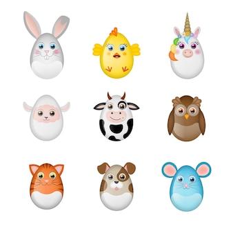 Conjunto de animais engraçados de ovos de páscoa decorados feitos com ovos