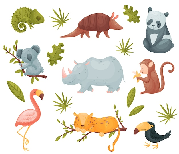 Conjunto de animais exóticos isolados no branco