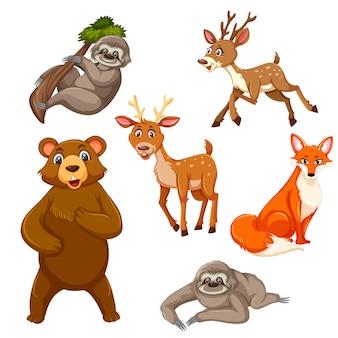 Conjunto de animais exóticos