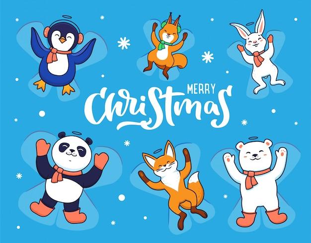 Conjunto de animais fazendo anjos de neve em fundo azul com flocos de neve.