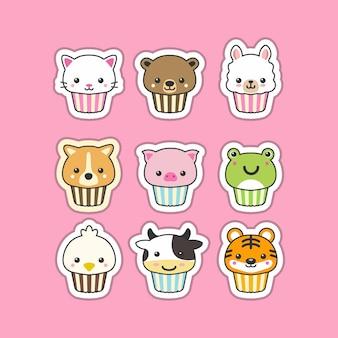 Conjunto de animais fofo cupcake