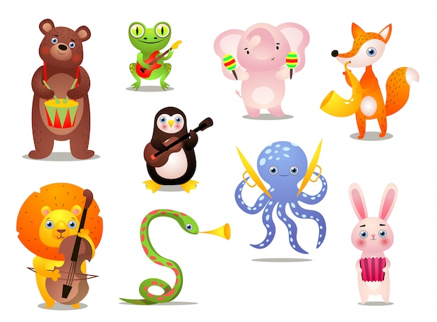 Conjunto de animais fofo músico colorido com instrumento diferente