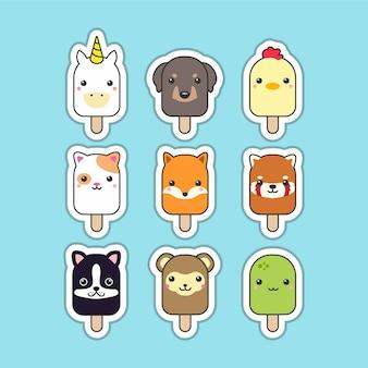 Conjunto de animais fofo picolé