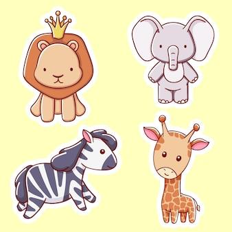 Conjunto de animais fofos africanos, leão, elefante, girafa, zebra, estilo de desenho animado de ilustração vetorial
