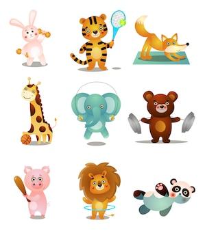 Conjunto de animais fofos coloridos jogando, em atividades esportivas diferentes