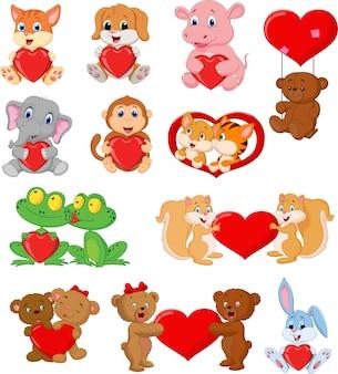 Conjunto de animais fofos com corações vermelhos