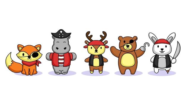 Conjunto de animais fofos com desenho de mascote de fantasia de pirata