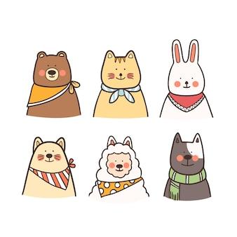 Conjunto de animais fofos com lenço na mão desenhada