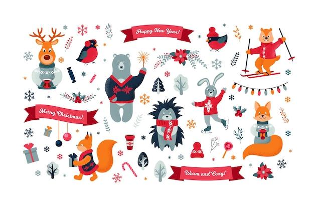 Conjunto de animais fofos da floresta de natal. ilustração vetorial