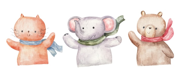 Conjunto de animais fofos da floresta, elefante, gato e urso, ilustração desenhada à mão, desenho infantil