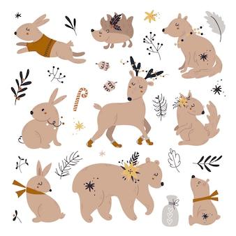 Conjunto de animais fofos da floresta, embalagem com decorações de natal.