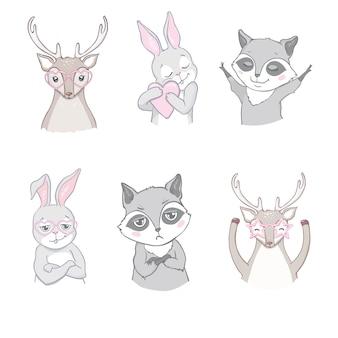 Conjunto de animais fofos da floresta isolado no branco
