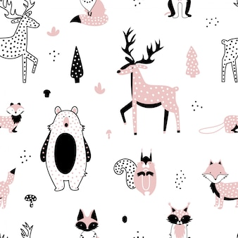 Conjunto de animais fofos da floresta