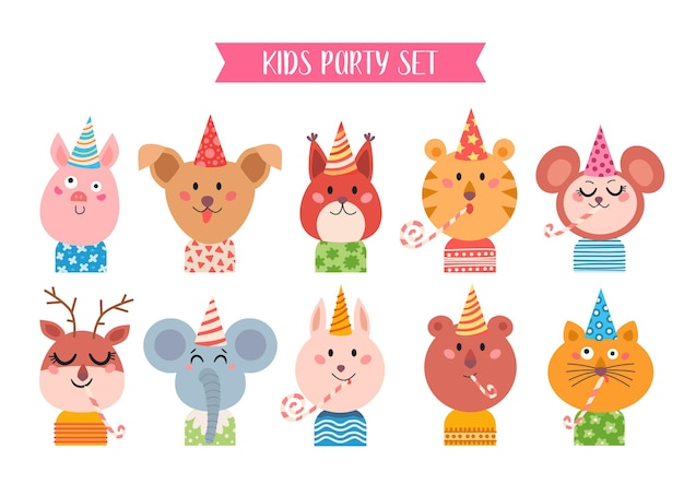 Conjunto de animais fofos de desenho animado para cartão e convite de bebê