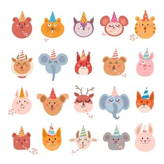 Conjunto de animais fofos de desenho animado para cartão e convite de bebê Vetor Premium