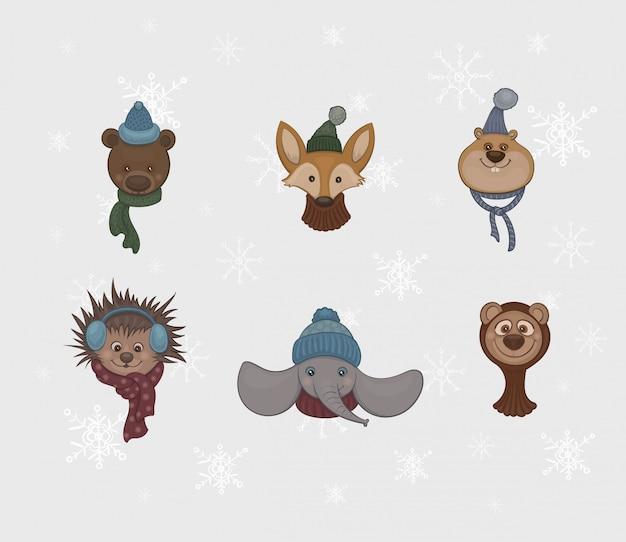 Conjunto de animais fofos de desenhos animados em lenços quentes e bonés