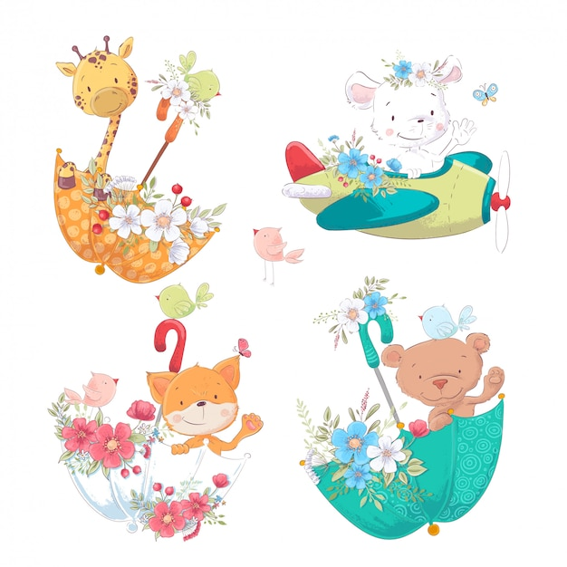 Conjunto de animais fofos de desenhos animados, girafa e urso em umbelas com flores