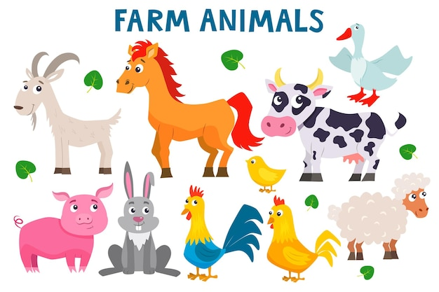 Conjunto de animais fofos de fazenda