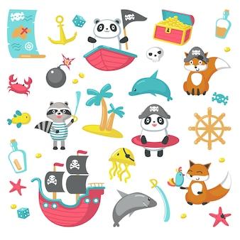 Conjunto de animais fofos de pirata e itens marinhos