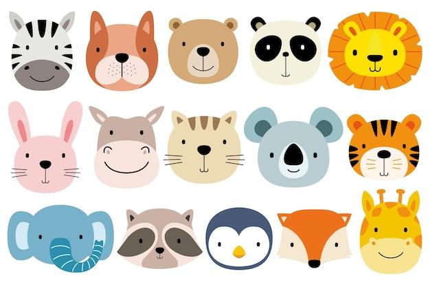 Conjunto de animais fofos de rosto