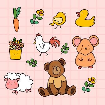 Conjunto de animais fofos desenhados à mão