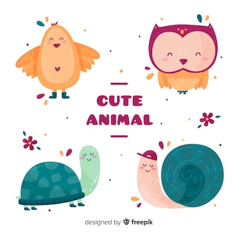 Conjunto de animais fofos diferentes